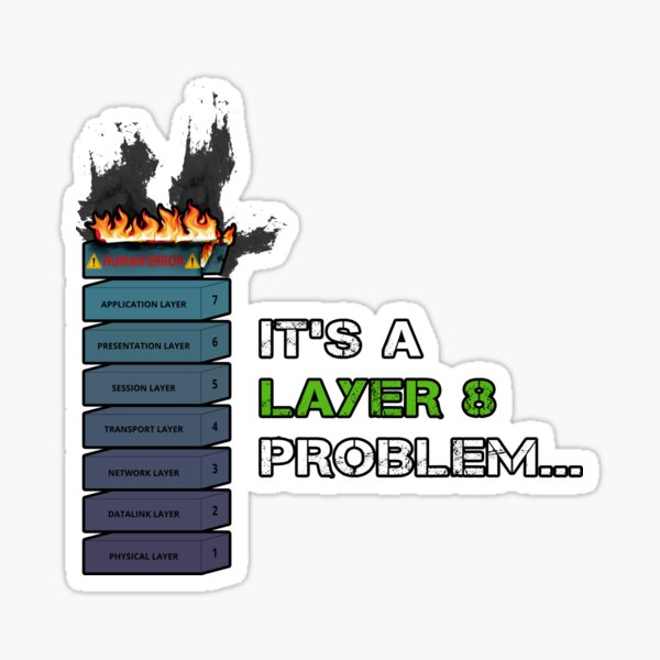 IT'S A LAYER 8 PROBLEM... - Burning OSI Layer 8 Sticker