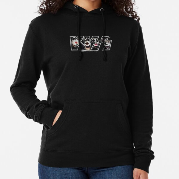 KISS the band logo with members in it Lightweight Hoodie