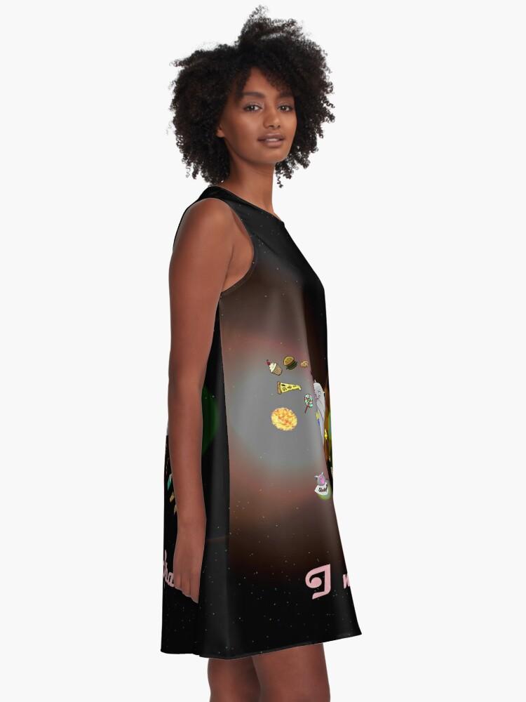 Alternative Ansicht von Caturn - I need Space (Zappenduster Version) A-Linien Kleid