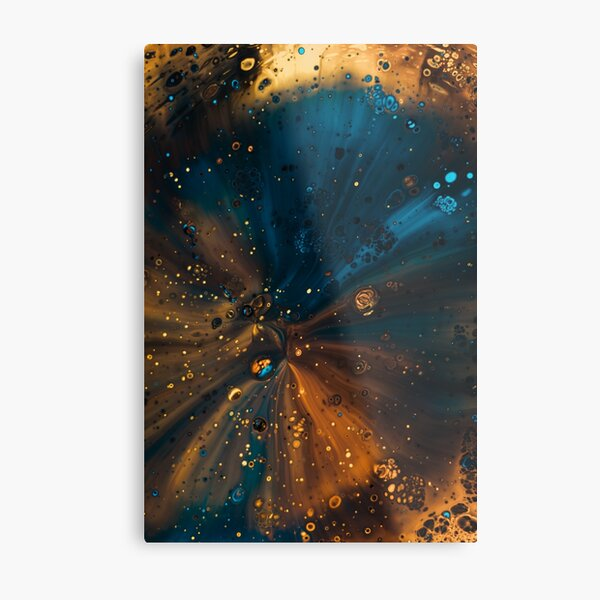 Blue and orange cells abstract Metal Print