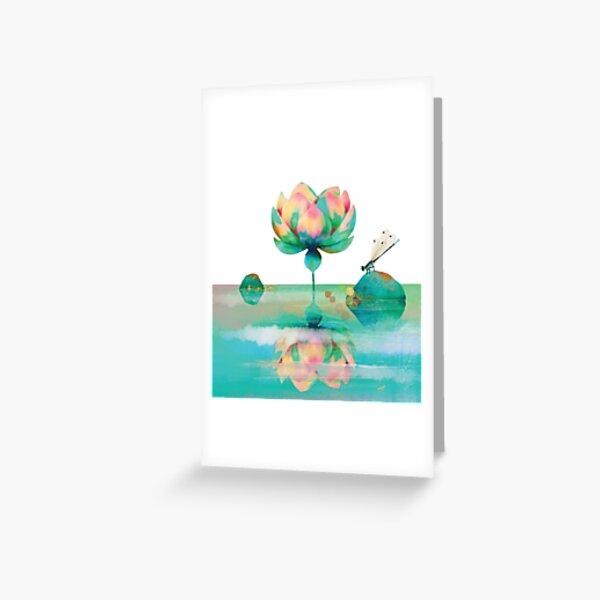 Emerald Green Lotus Watergarden Greeting Card