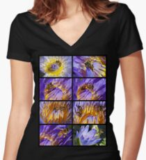 Bees and Water Lillies Lily Women's Fitted V-Neck T-Shirt