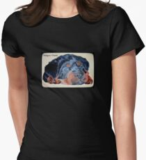 Rottweiler Puppy Portrait With Pedigree Charm Greeting Womens Fitted T-Shirt