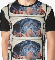 Rottweiler Puppy Portrait With Pedigree Charm Greeting Graphic T-Shirt