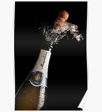 Celebration Theme With Exploding Champagne Poster