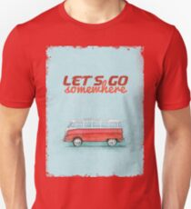Volkswagen Bus Samba Vintage Car - Hippie Travel - Let's go somewhere Unisex T-Shirt