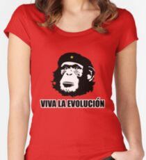 Viva La Evolucion Funny Chimp Che Women's Fitted Scoop T-Shirt