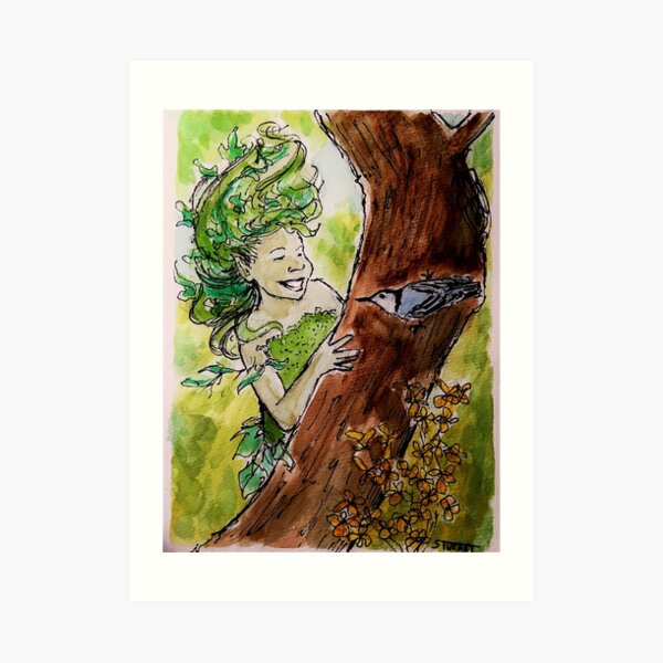 Dryad Playing Hide-and-Seek with a Nuthatch Art Print