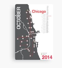 Chicago Marathon Map 2014 Metalldruck