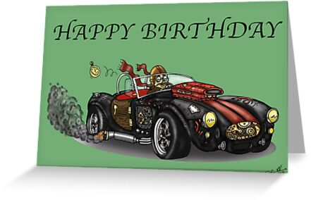 AC COBRA STYLE STEAMPUNK BIRTHDAY CARD by squigglemonkey