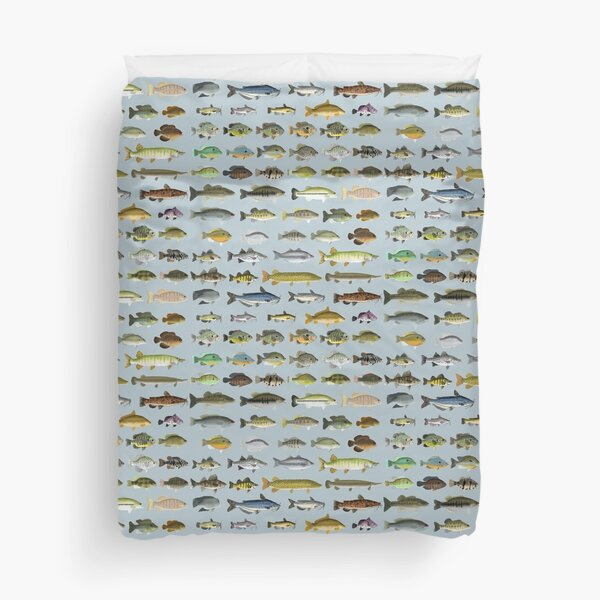 North American Freshwater Fish Group Duvet Cover