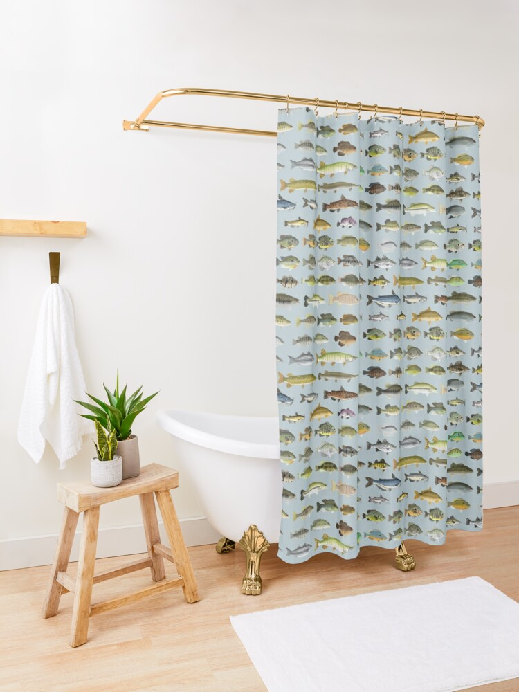 Alternate view of North American Freshwater Fish Group Shower Curtain