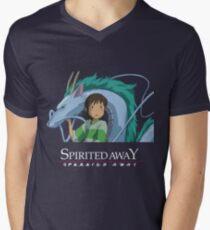 Spirited Away Chihiro and Haku-Studio Ghibli Men's V-Neck T-Shirt