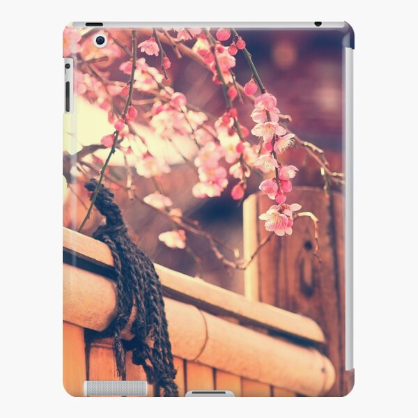 Pink Plum Blossoms with Bamboo Fence and Pagoda iPad Snap Case