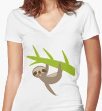 sloth  Women's Fitted V-Neck T-Shirt