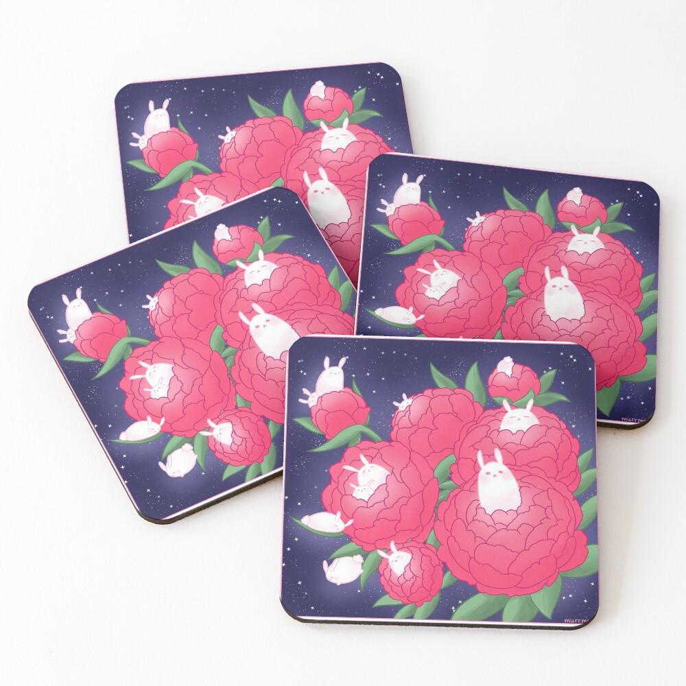 Peony Bunnies Coasters (Set of 4)