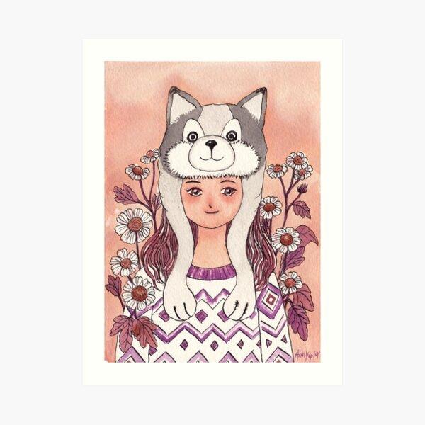 The Girl wearing a Husky hat Art Print