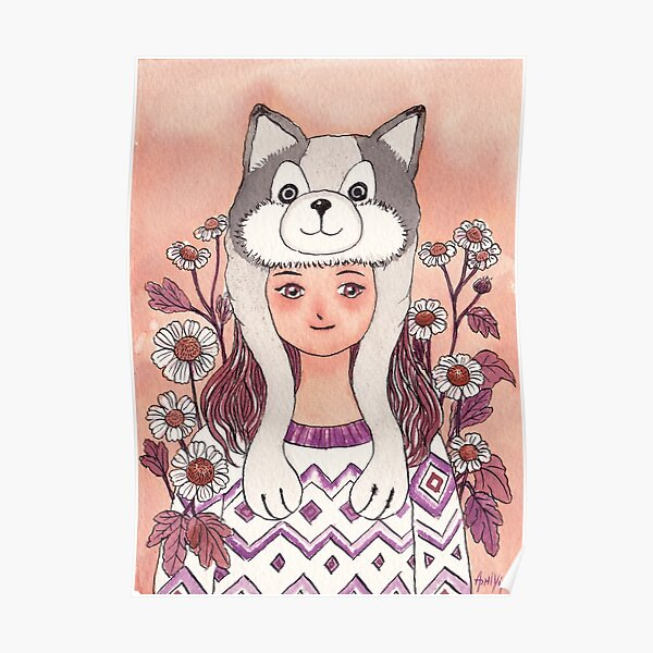The Girl wearing a Husky hat Poster