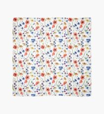 Spring watercolor pattern, flowers, poppy, cornflower, chamomile Scarf