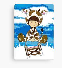 Girl in Cow Costume on Sledge Leinwanddruck
