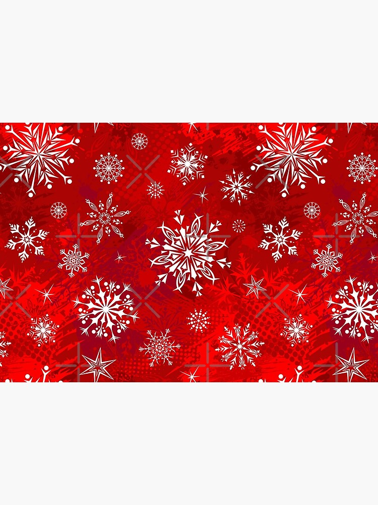 Christmas Pattern - Classic Red Gradient Snowflakes Design by psanjaymenon