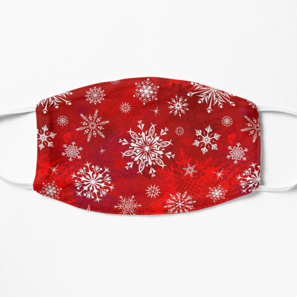Christmas Pattern - Classic Red Gradient Snowflakes Design Flat Mask