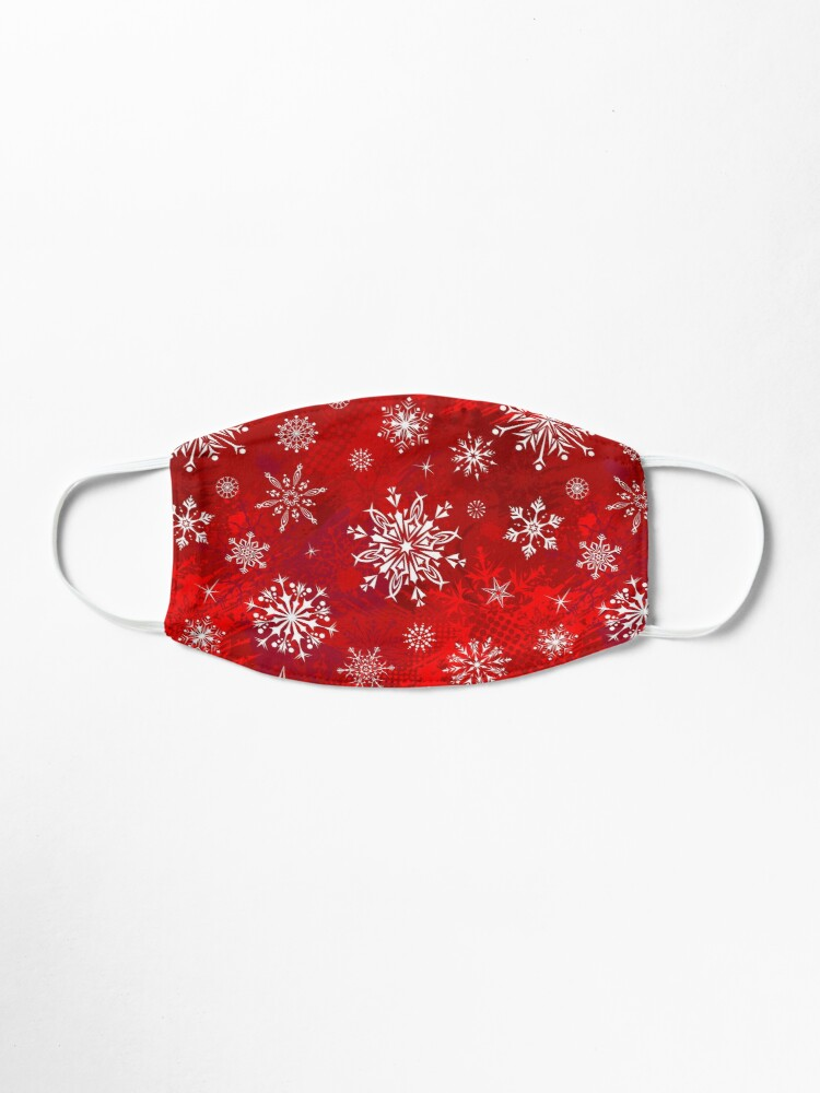 Alternate view of Christmas Pattern - Classic Red Gradient Snowflakes Design Mask
