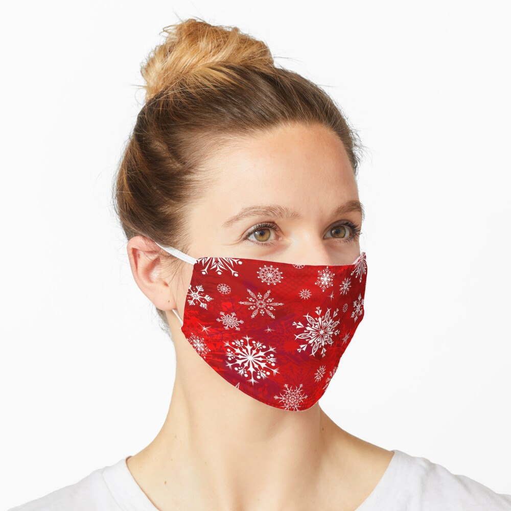 Christmas Pattern - Classic Red Gradient Snowflakes Design Mask