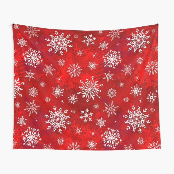 Christmas Pattern - Classic Red Gradient Snowflakes Design Tapestry