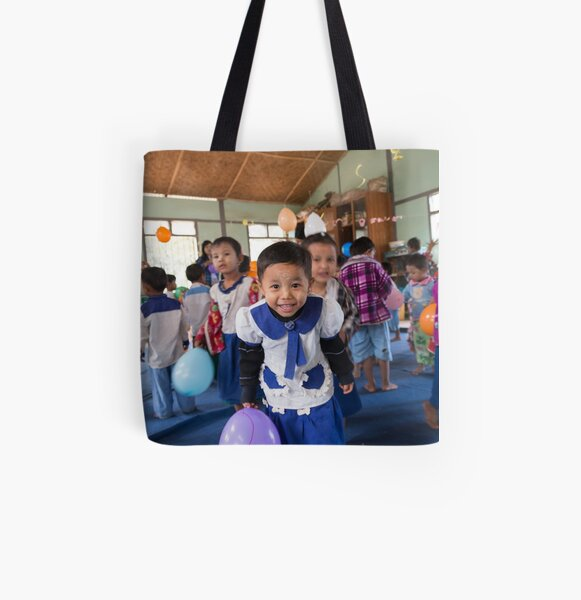 Preschoolers playing with Balloons in Myanmar All Over Print Tote Bag