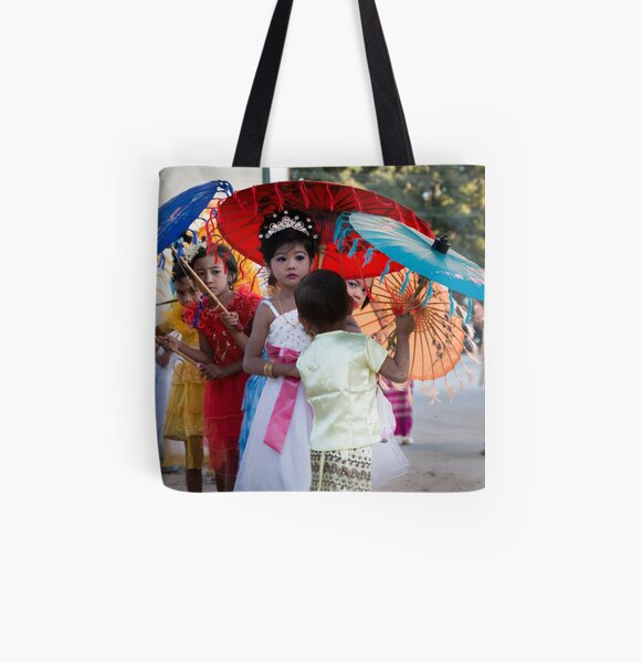 Girls in Shinbyu Parade in Bawdhitahtaung. (Myanmar) All Over Print Tote Bag