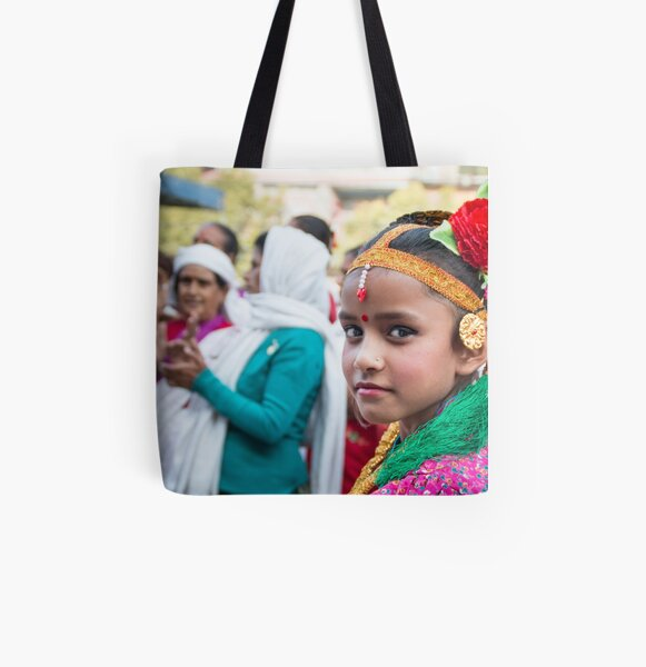 Young Nepali Girl during Tihar All Over Print Tote Bag