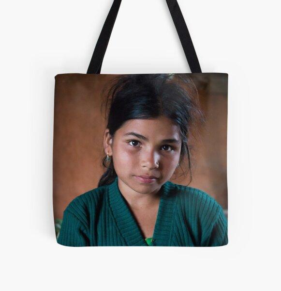 Girl in Thulasain All Over Print Tote Bag