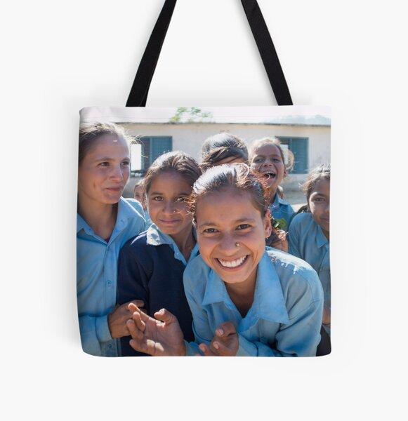 Girls In Tesinge - Far-west Nepal All Over Print Tote Bag