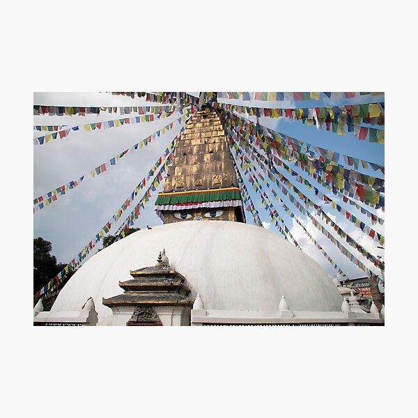 Stupa and Prayer flags Photographic Print