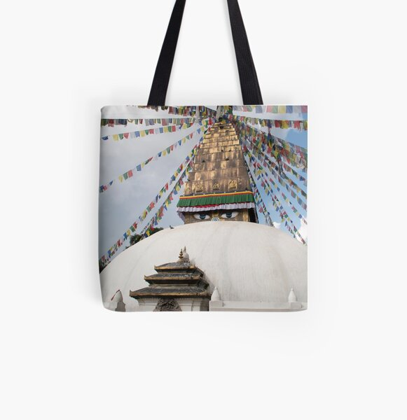 Stupa and Prayer flags All Over Print Tote Bag