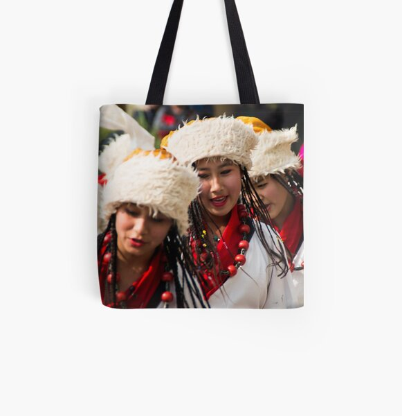 Tibetan Dancers in Kathmandu All Over Print Tote Bag