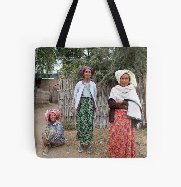 Myanmar Ladys All Over Print Tote Bag