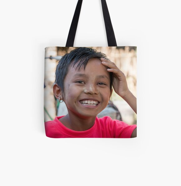Happy girl in Myanmar All Over Print Tote Bag
