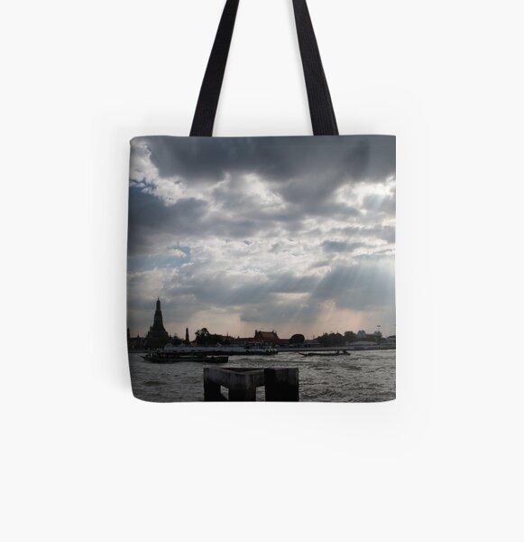 Enjoying Sunlight beside the River in Bangkok All Over Print Tote Bag