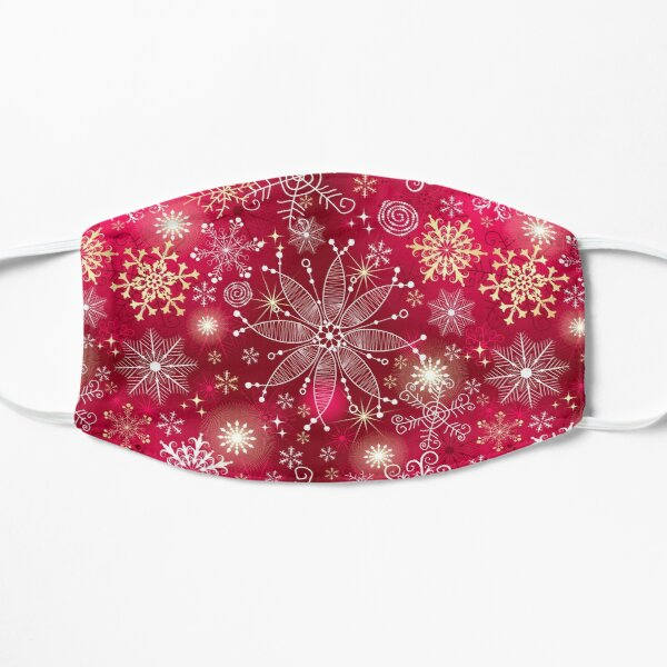 Pink Christmas Pattern - Classic Gradient Snowflakes Design Flat Mask