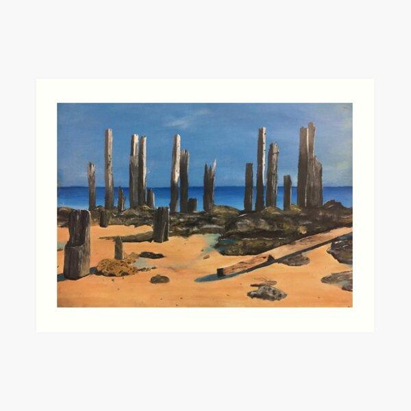 Port Willunga Old Jetty Acrylic Painting Art Print