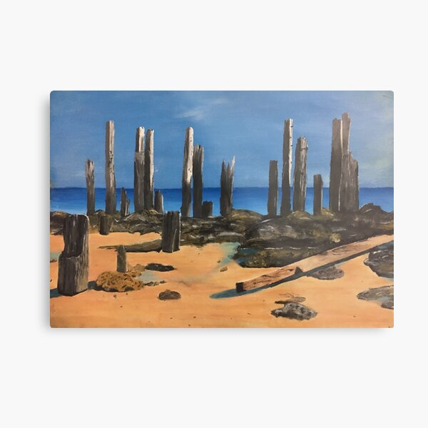 Port Willunga Old Jetty Acrylic Painting Metal Print