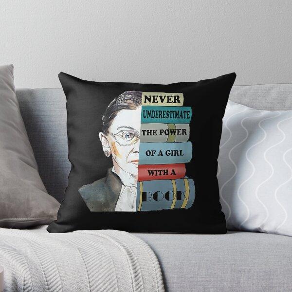 Womens Ruth Bader Ginsburg Shirt Never UnderEstimate Power Of Girl Throw Pillow