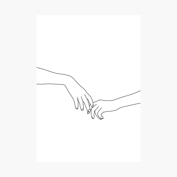 Hands line drawing - Daily Photographic Print