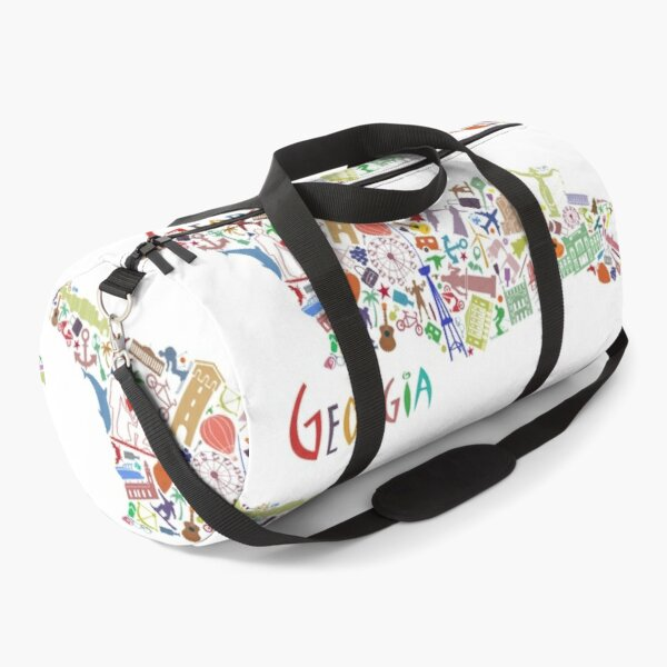 Iconic Georgia Map Sticker Duffle Bag