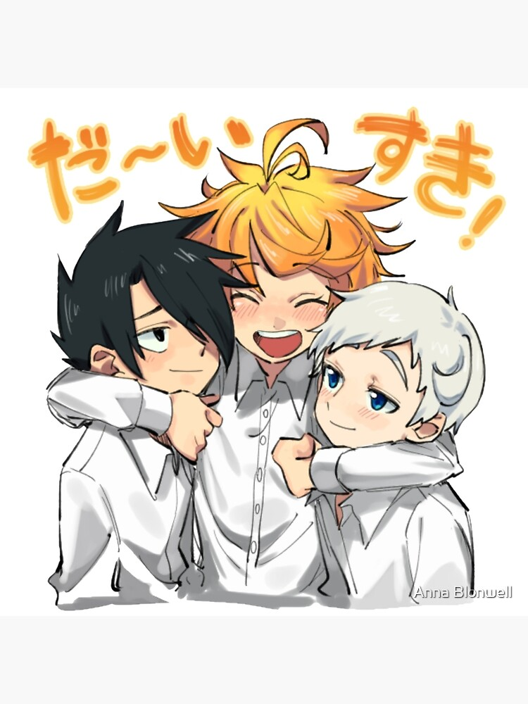 The Promised Neverland Cute Ray Emma And Norman Art Board Print By Shindouart Redbubble