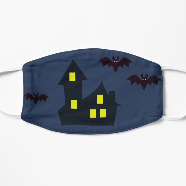 haunted house with bats- halloween collection/scared orange cat/trick or treat/ orange/ghost/autumn/funny/spooky/ghost /cute/death/savage Mask