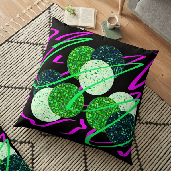 Serpentine and glitter (black background) Floor Pillow