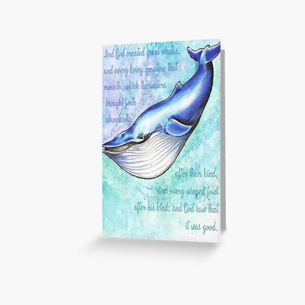 Blue Whale Genesis 1:21 Greeting Card